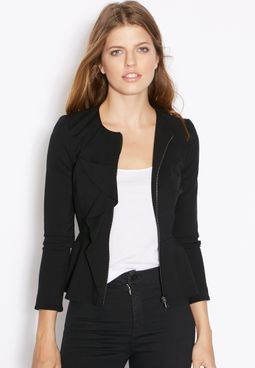 Topshop Ruffle Front Fitted Jacket
