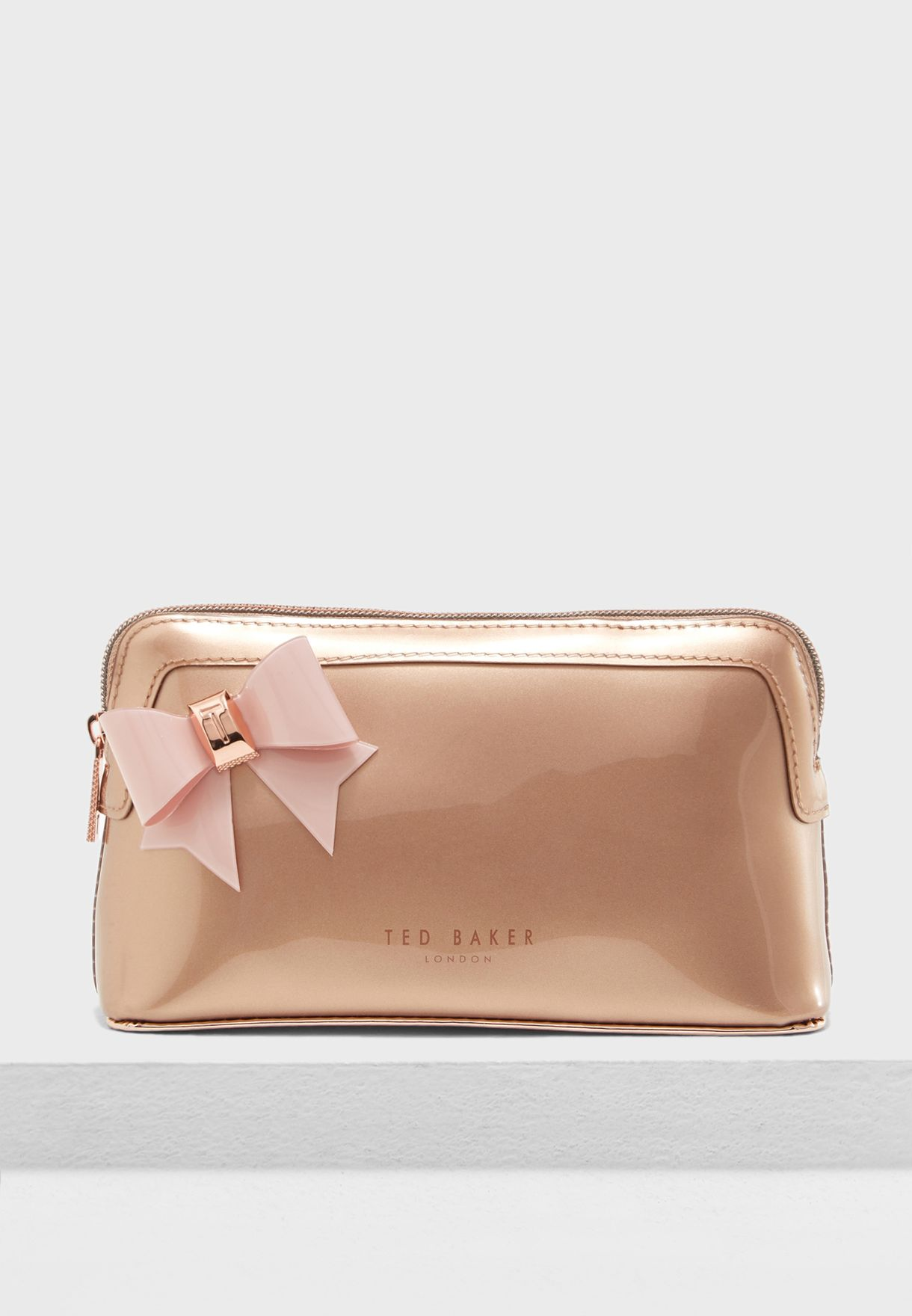 0fa36eec0e12 Shop Ted baker rosegold Aubrie Bow Makeup Bag 146573 for Women in ...
