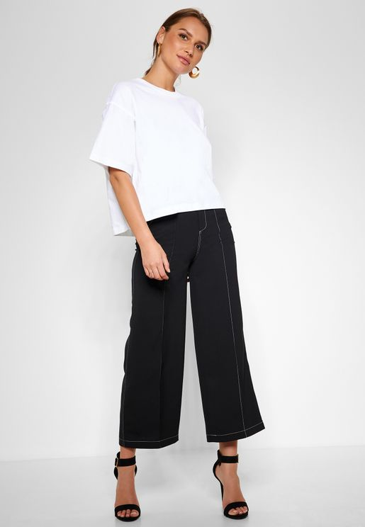 Contrast Stitch Wide Leg Pants