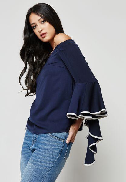 Bell Sleeve Bardot Top