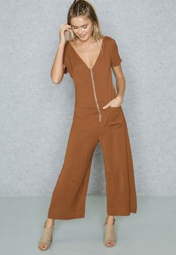 Front Zip Self Tie Jumpsuit