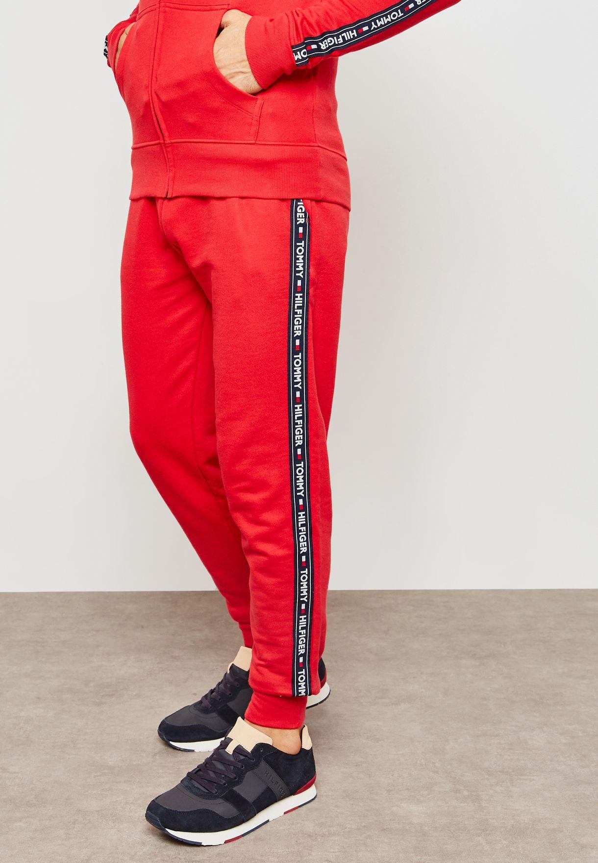 e3c150e3 Shop Tommy Hilfiger red Logo Stripe Cuffed Sweatpants UM0UM00706-611 ...