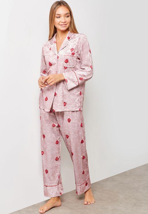 785fc50c89 Strawberry Print Velvet Shirt Pyjama Set