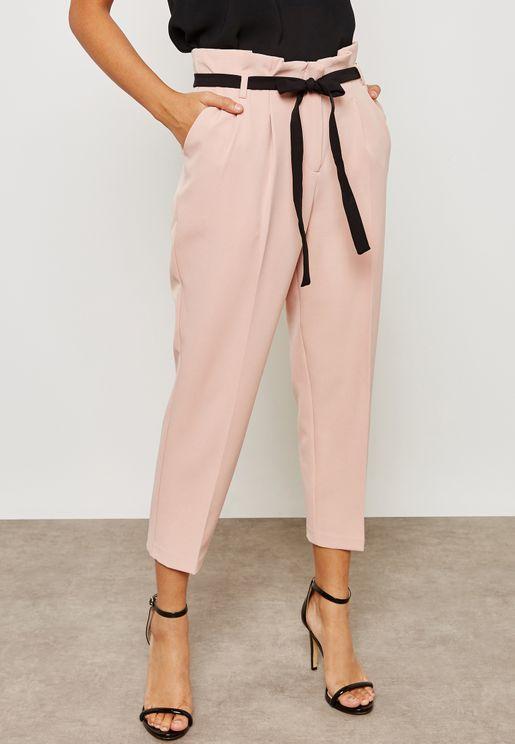 Contrast Belt Paperbag Pants