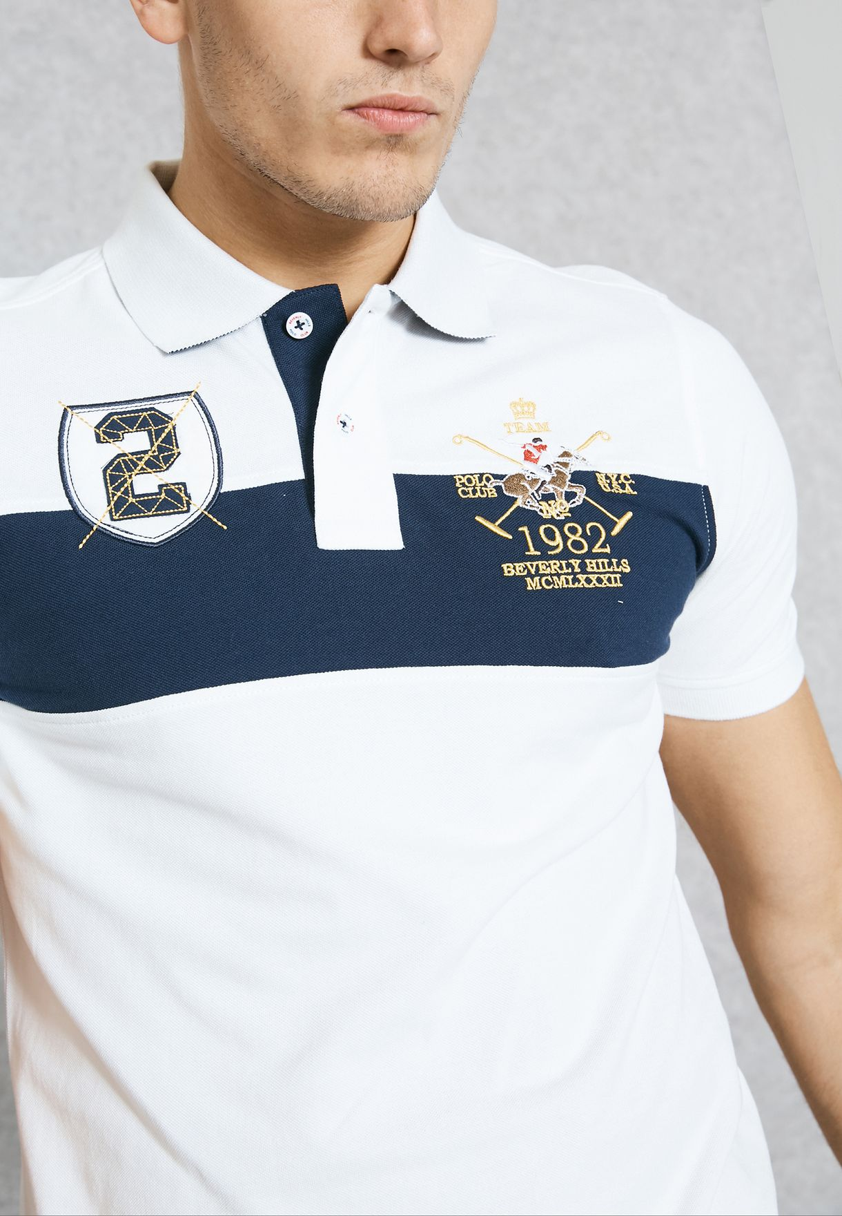 f1fc7fa2a Shop Beverly Hills Polo Club white Logo Print Polo M2666 for Men in ...