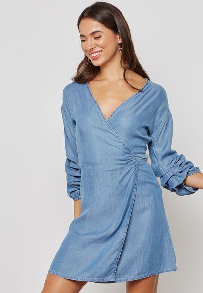Ruffle Sleeve Wrap Denim Dress