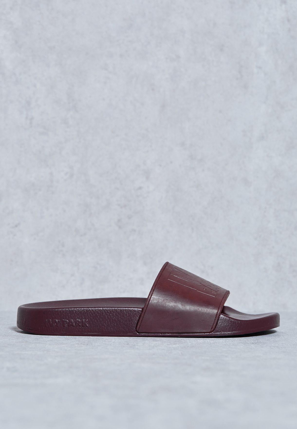 61a90e050e59 Shop Ivy Park red Logo Slide Sandals 29E02KBRG for Women in Saudi ...