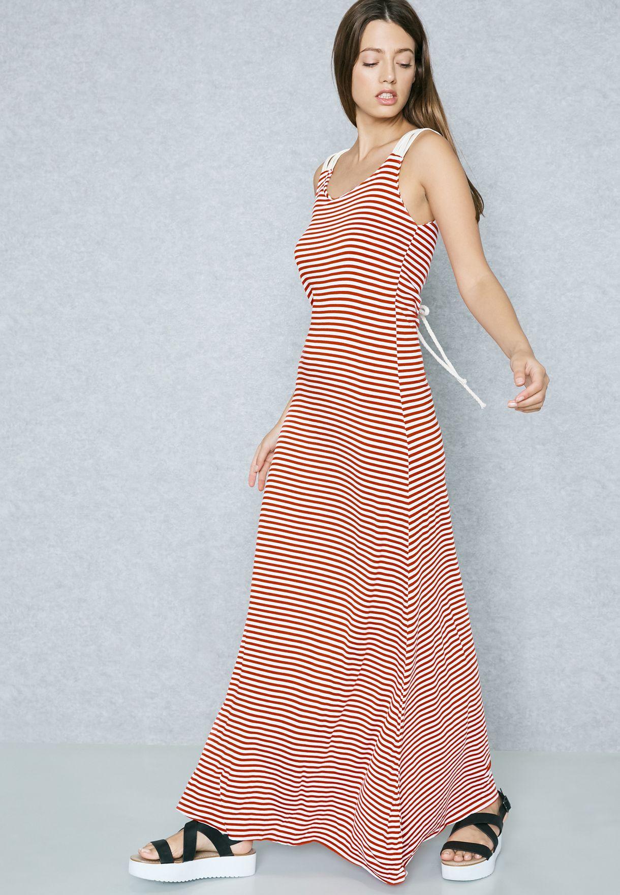 e69a0128cb1 Shop Ginger Basics prints Striped Lace Up Back Maxi Dress 3758 for ...