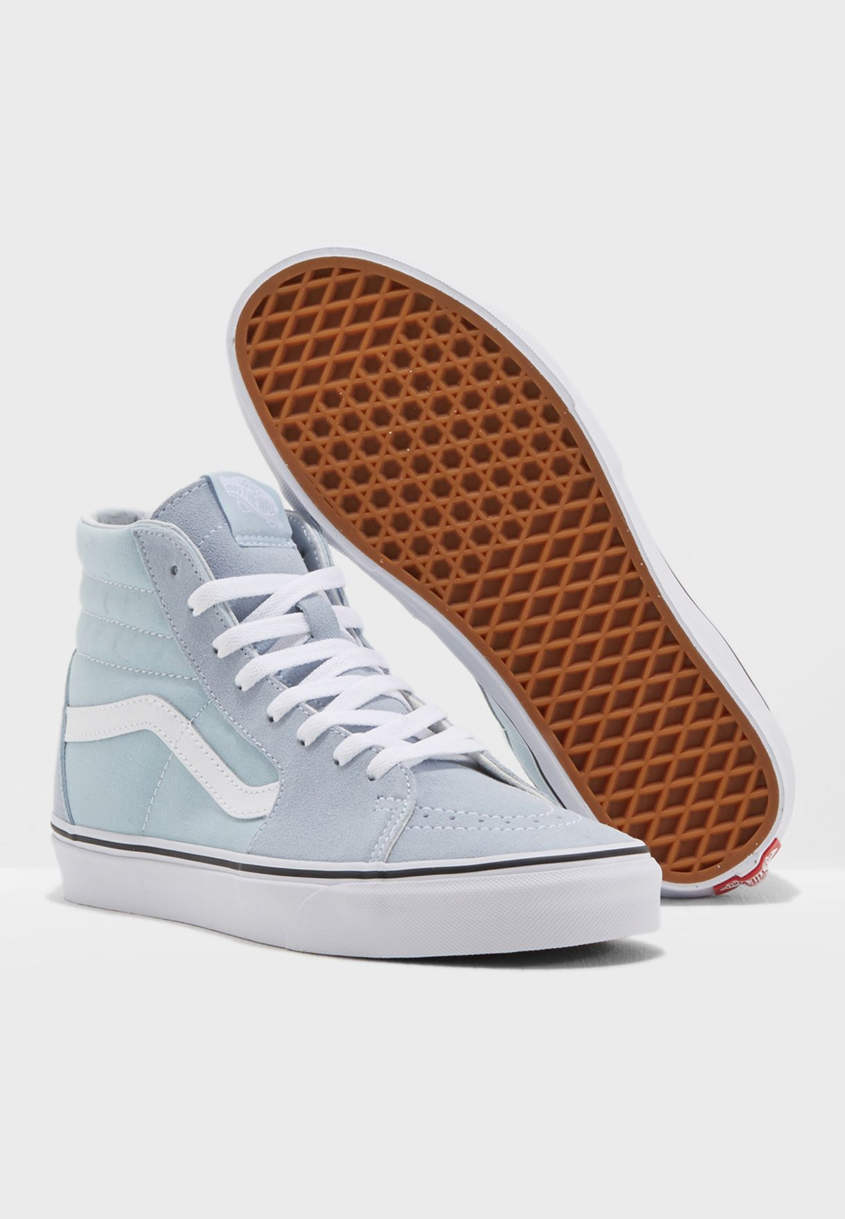 aeb8ed740851 Shop Vans blue Sk8 Hi Sneakers Baby Blue True White for Women in ...