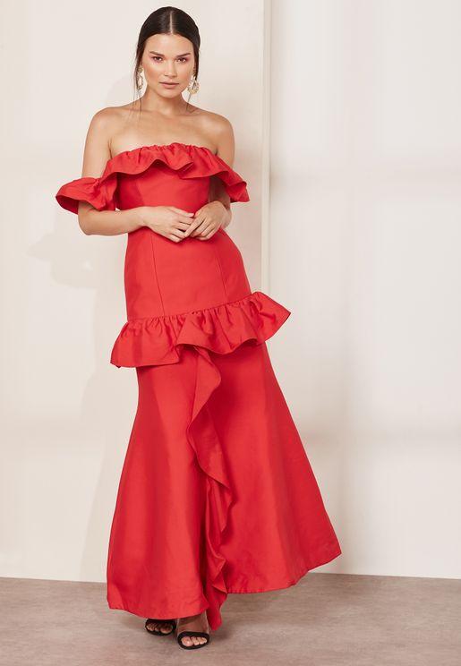 Ruffle Detail Bardot Dress