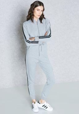 Striped Side Paneled Hooded Jumpsuit