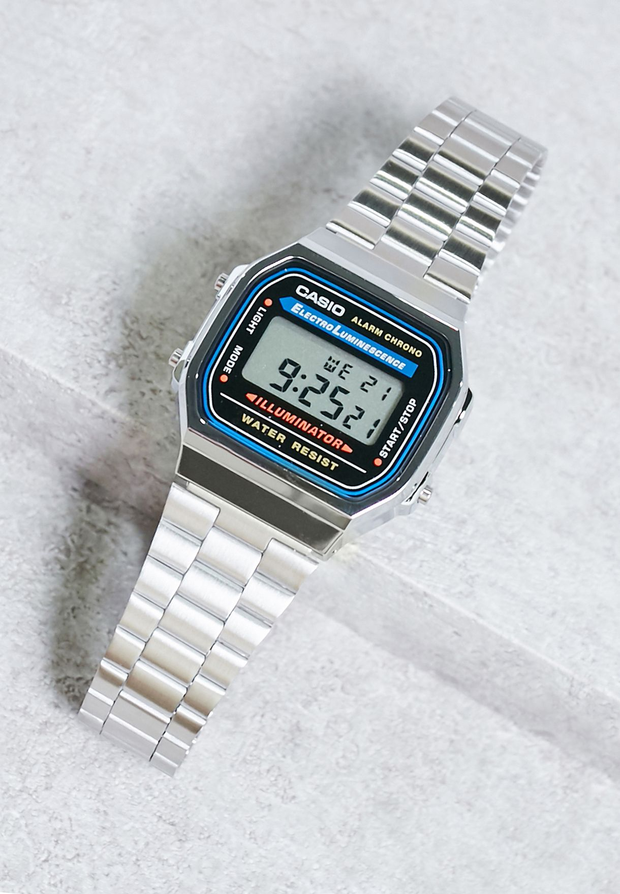 b32170f20 تسوق ساعة الكترونية ماركة كاسيو لون فضي A168WA-1WDF في السعودية ...