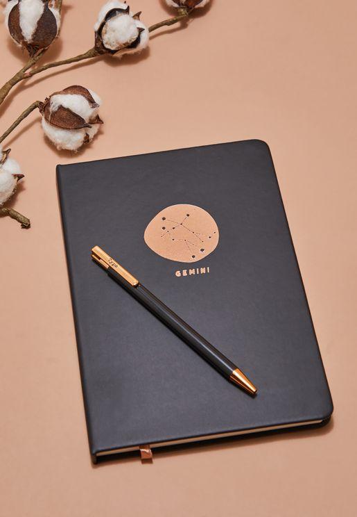 مجموعة دفتر ملاحظات برج الجوزاء مع قلم