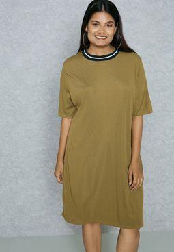 Contrast Ribbed Neck Dress