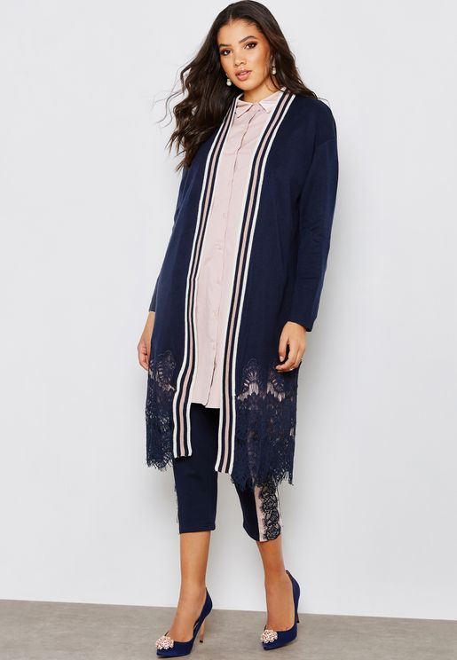 Lace Trim Striped Detail Cardigan