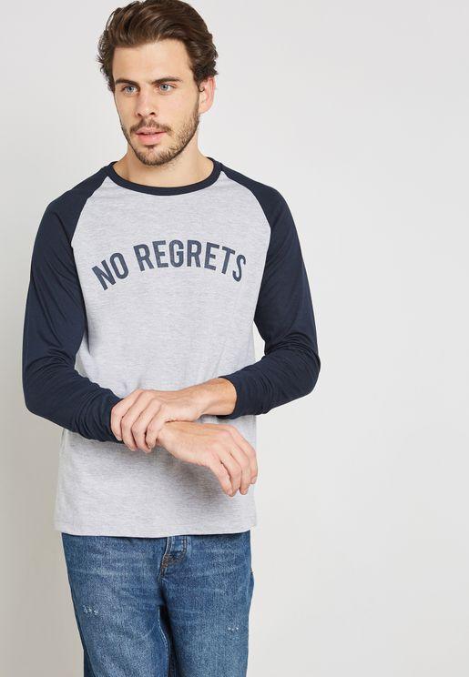 No Regrets Raglan Crew Neck T-Shirt