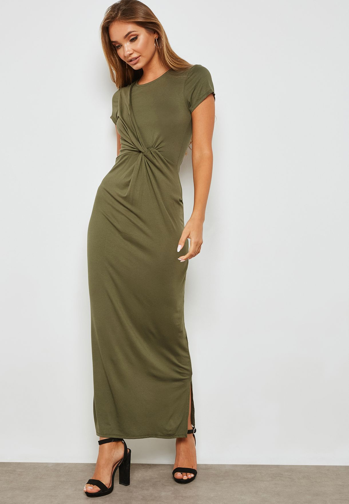 Front Twisted Side Split Maxi Dress