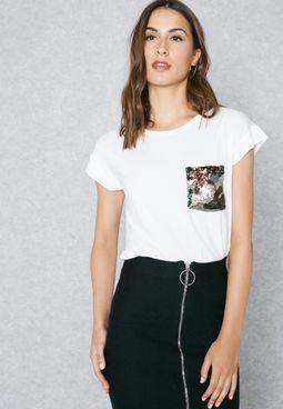 Embellished Camo Pocket Cropped T-Shirt
