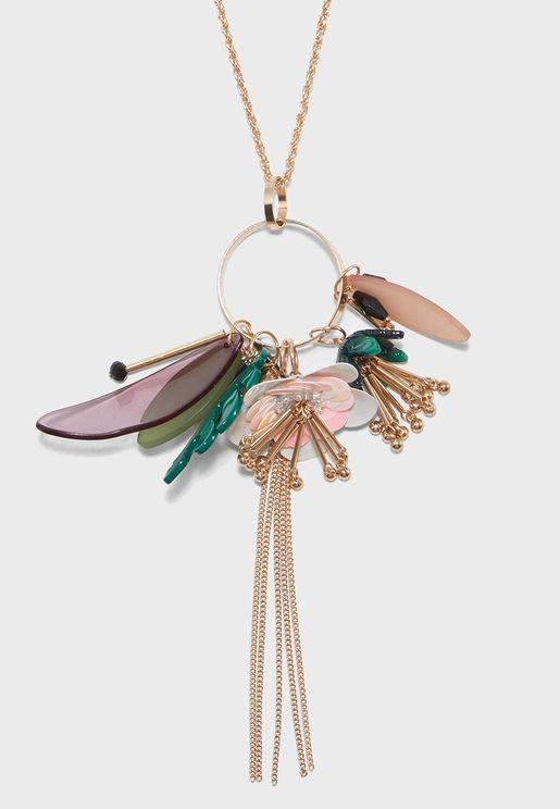 Flower Leaf Ring Cluster Necklace