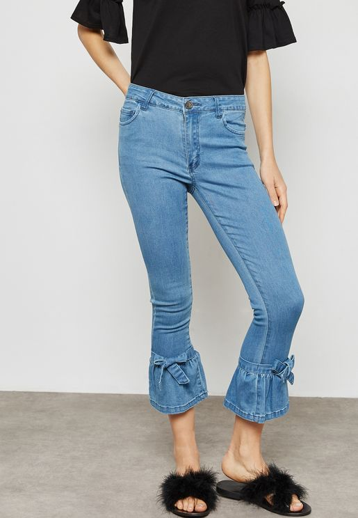 Tie Ankle Straight Jeans