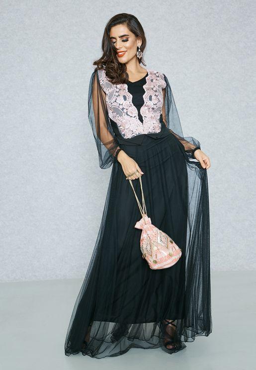 Lace Top Net Overlay Dress