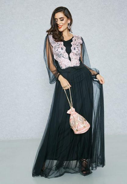 Lace Top Net Overlay Dress