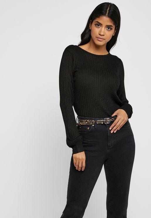 Ribbed Shimmer Sweatshirt