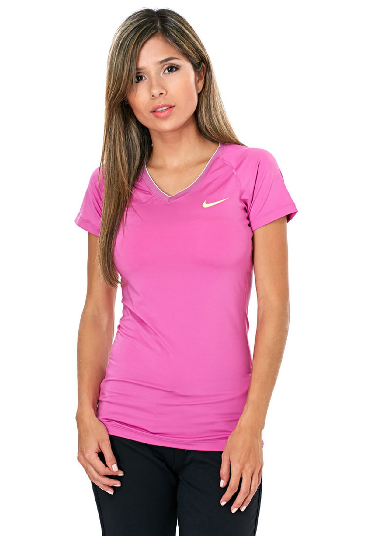 Shop Nike pink Nike Pro SS V- Neck 458663-675 for Women in Saudi -  NI727AT36CKX 9aa0d9a3f6e