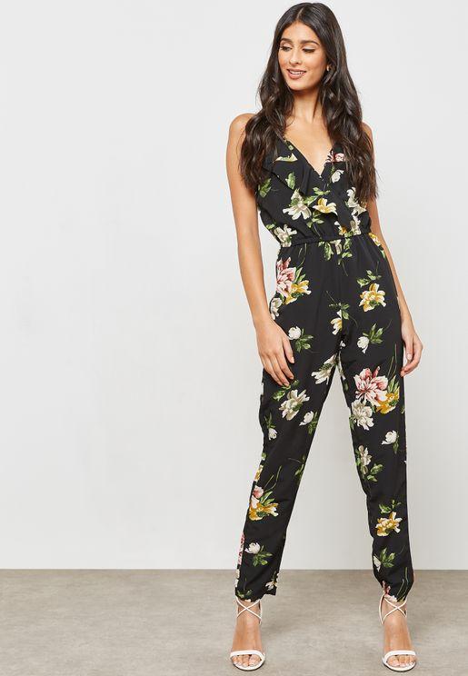 Floral Print Wrap Front Ruffle Jumpsuit