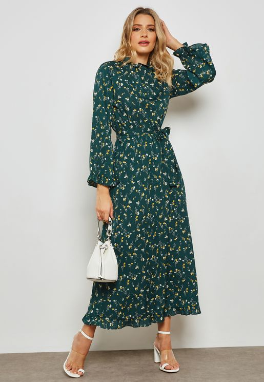Floral Print Open Back Self Tie Maxi Dress