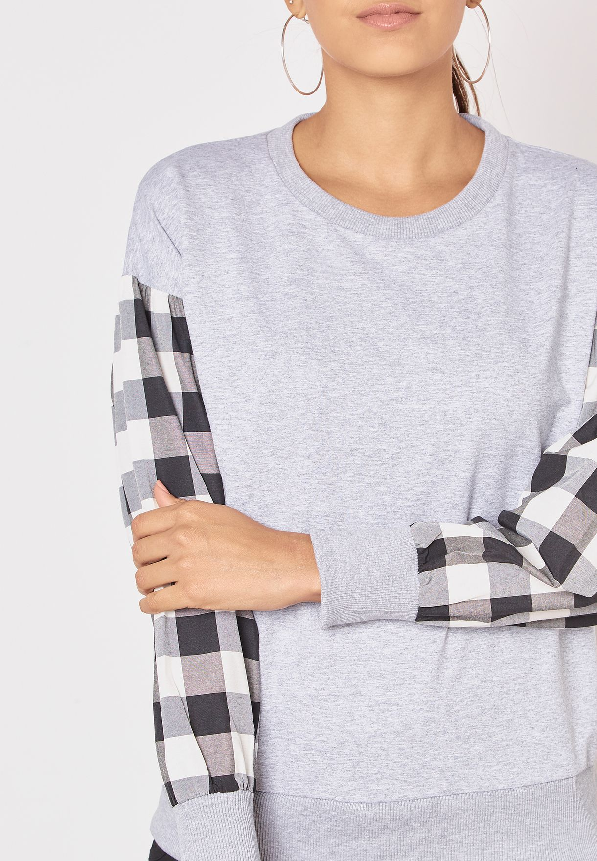 Checked Sleeves Sweatshirt