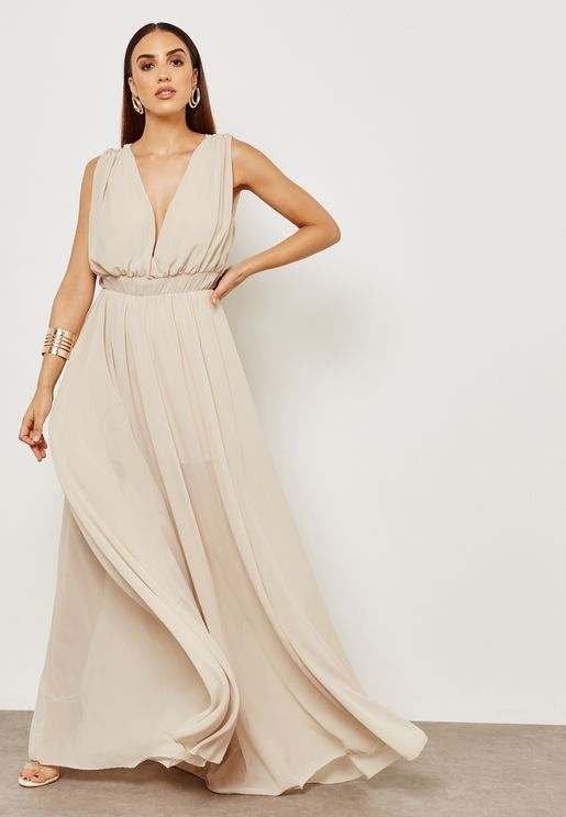 Plunge Neck Maxi Dress