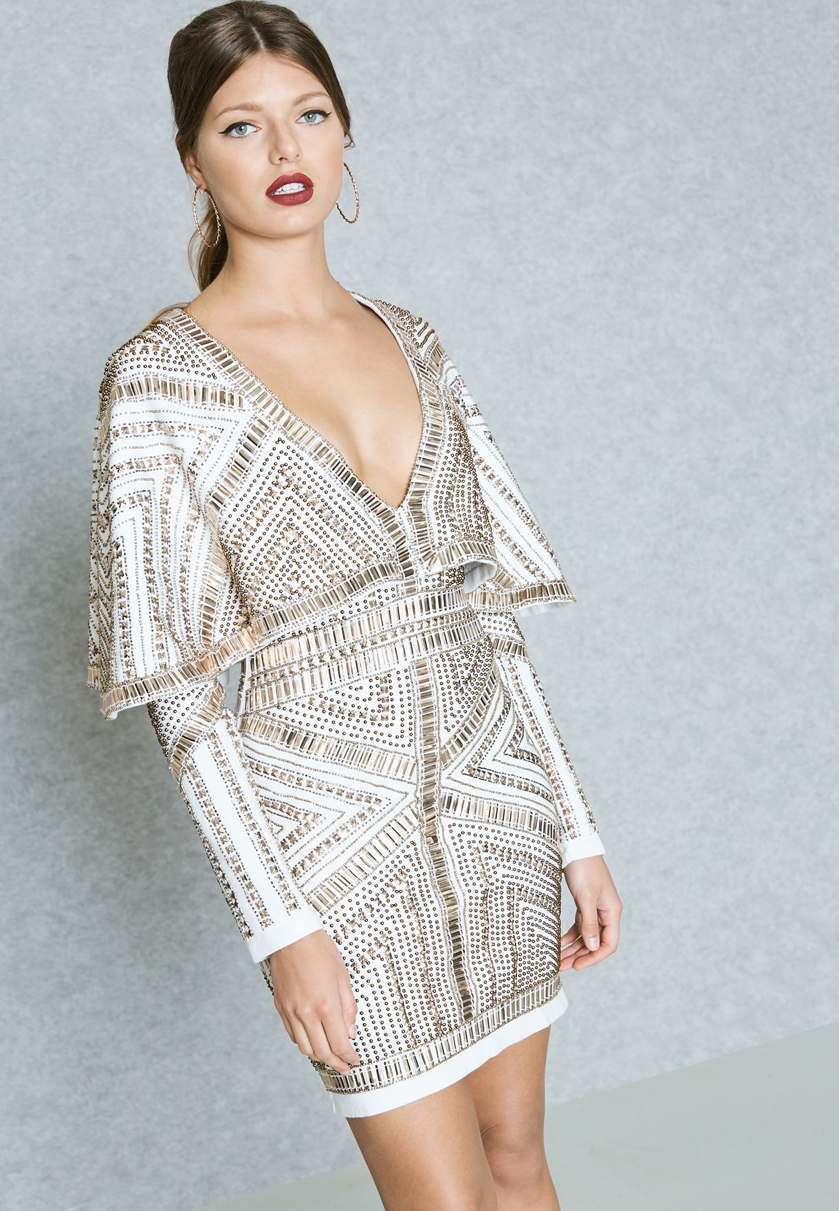14ad9fa60f5 Shop Missguided white PEACE + LOVE Embellished Plunge Dress DE913893 ...