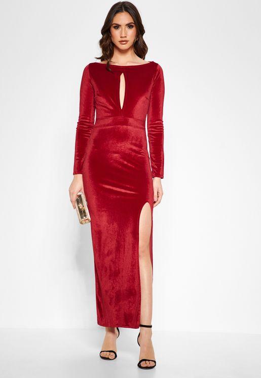 Keyhole Front Maxi Dress