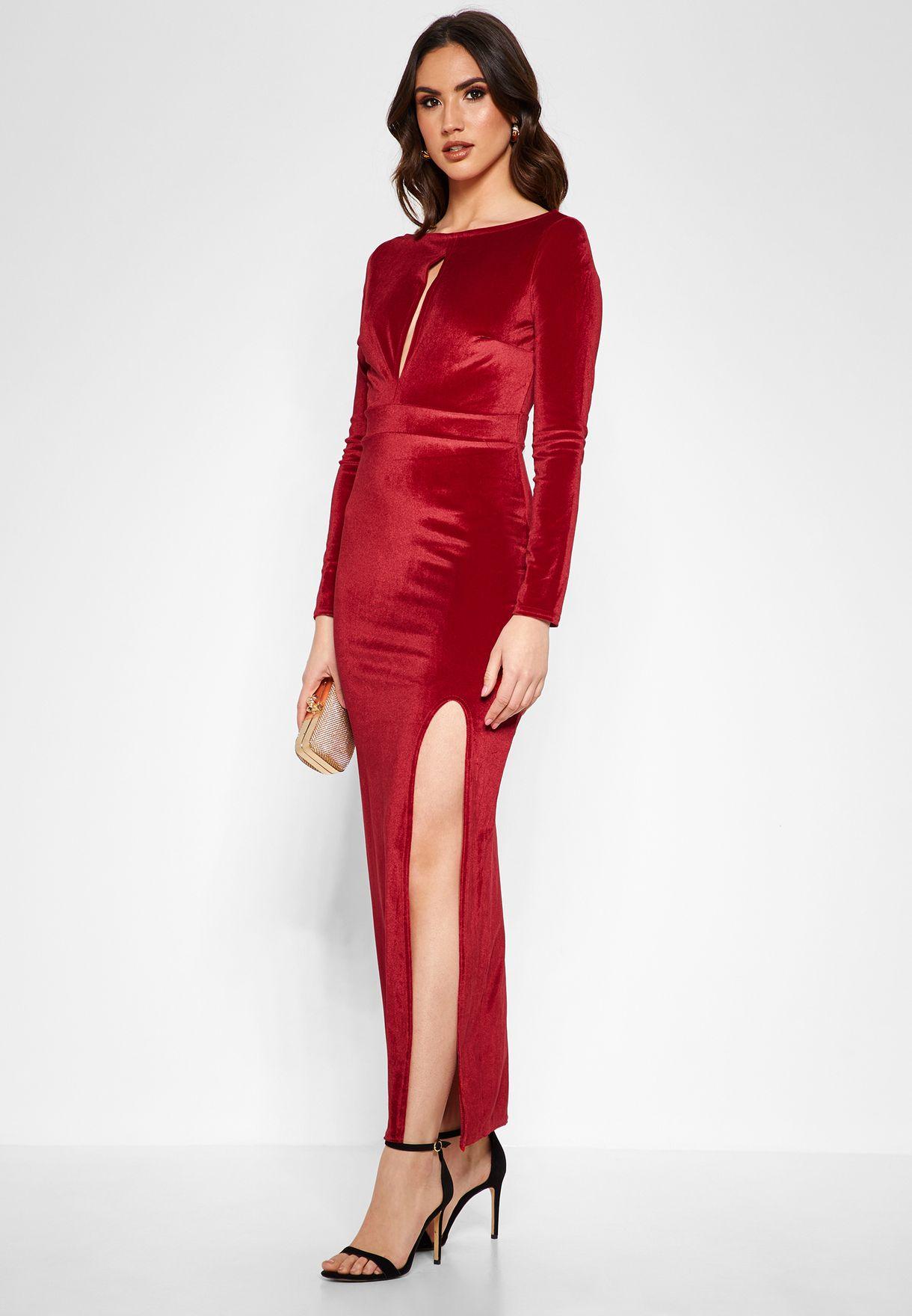 Keyhole Front Velvet Maxi Dress