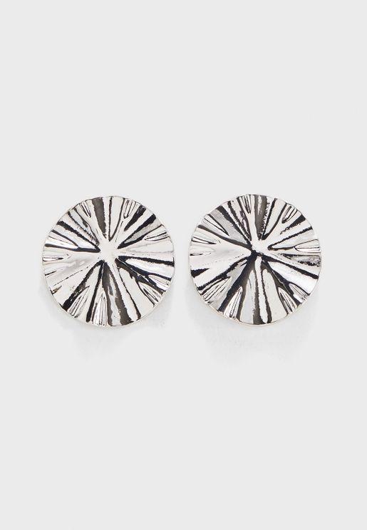 Metal Ripple Button Earrings
