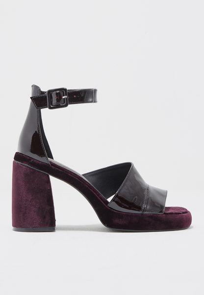 Velvet Block Heel Sandal