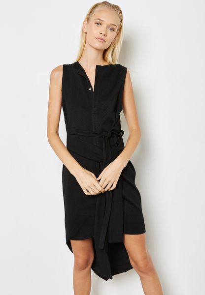 Tie Waist Asymmetric Dress