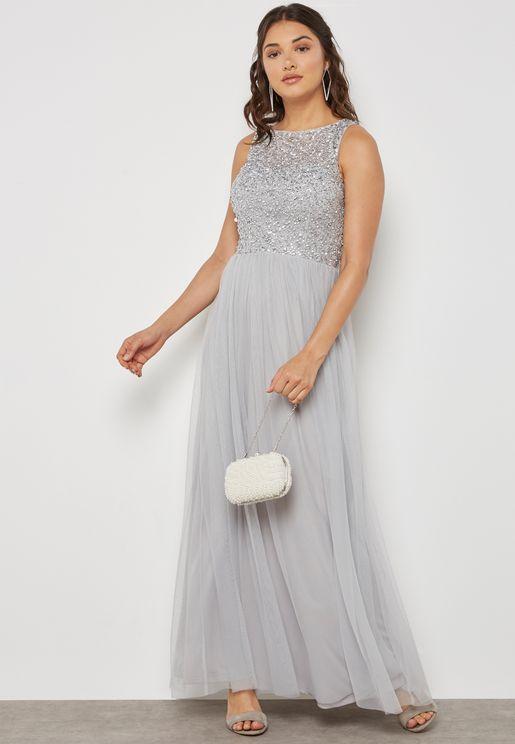Sequin Pleated Maxi Dress