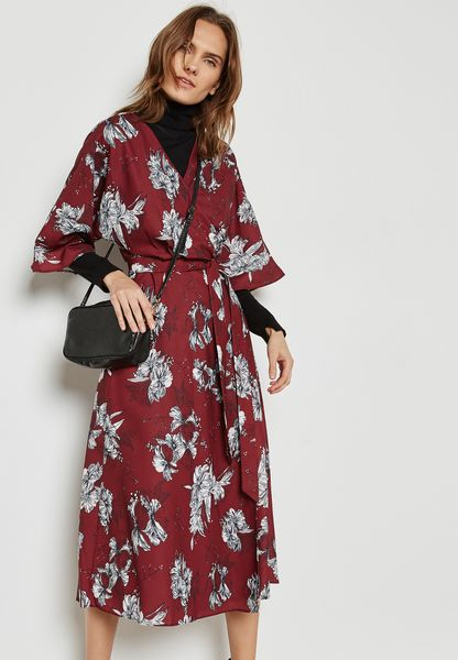 Floral Print Wrap Front Self Tie Dress