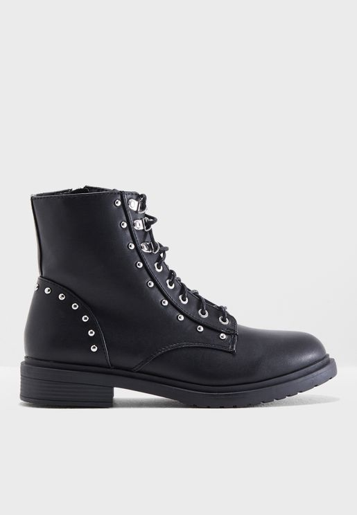 Alexa Stud Military Boot