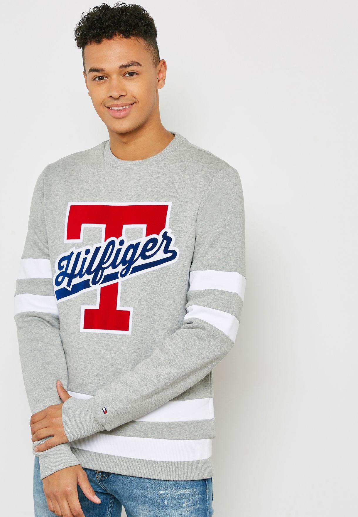 697871d6bfe Shop Tommy Hilfiger grey T-Script Logo Sweatshirt MW0MW09073 for Men ...