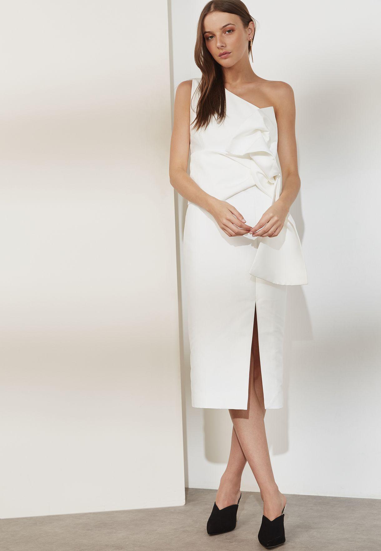 bfe94a59a6d84 تسوق فستان بكتف واحد وشق جانبي ماركة كيب سايك لون أبيض KX170716D في ...