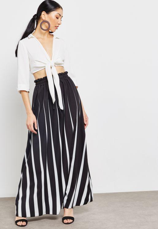 Striped Drawstring Maxi Skirt
