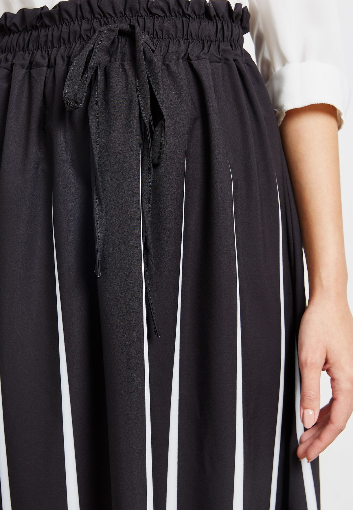 Striped Drawstring Maxi Skirt