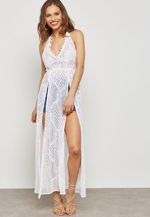 Side Slit Pom Pom Beach Dress