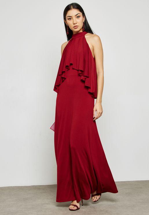 High Neck Frill Layered Dress