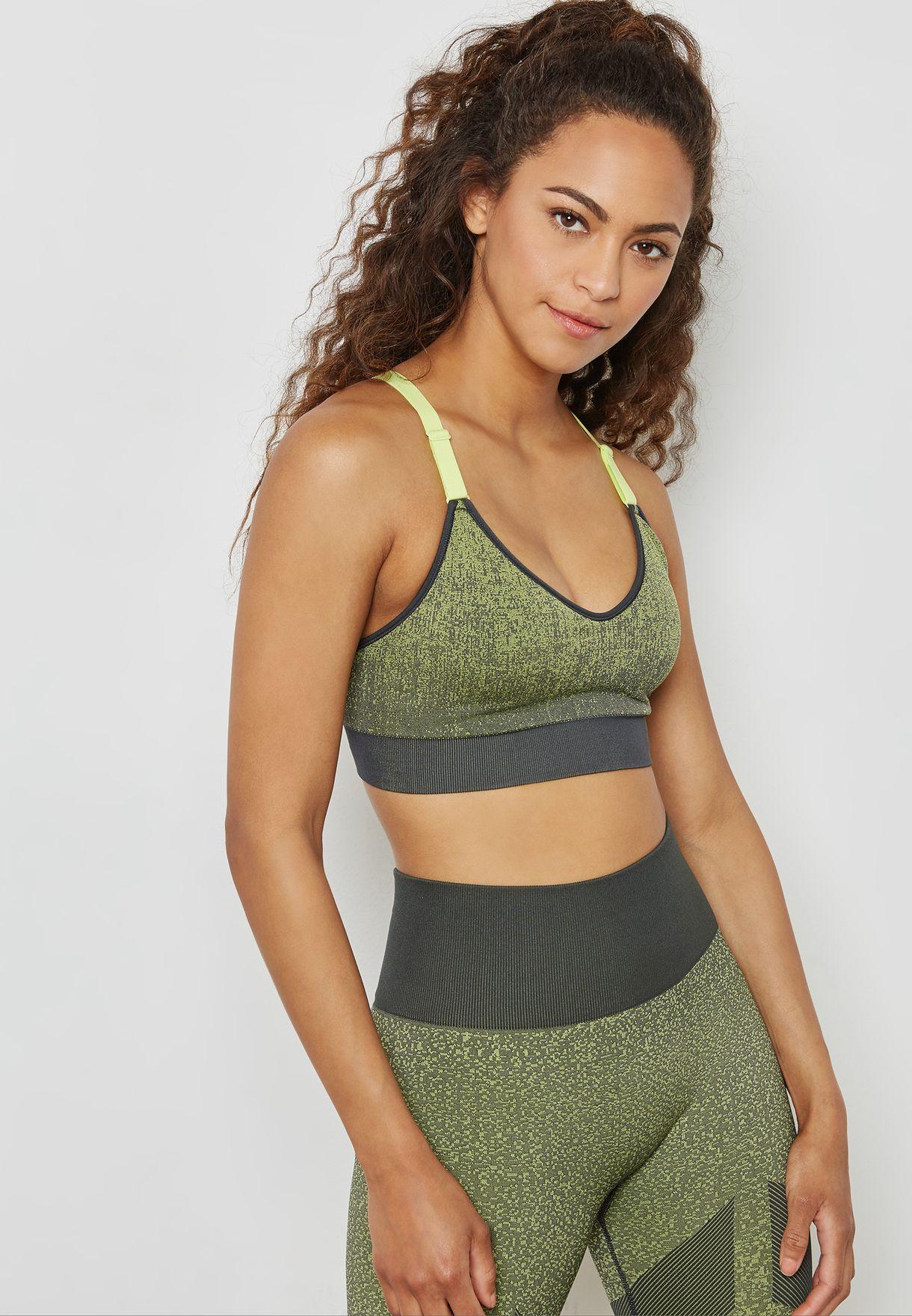 2e741ece35 Shop adidas green All Me Seamless Heather Bra CD8373 for Women in ...