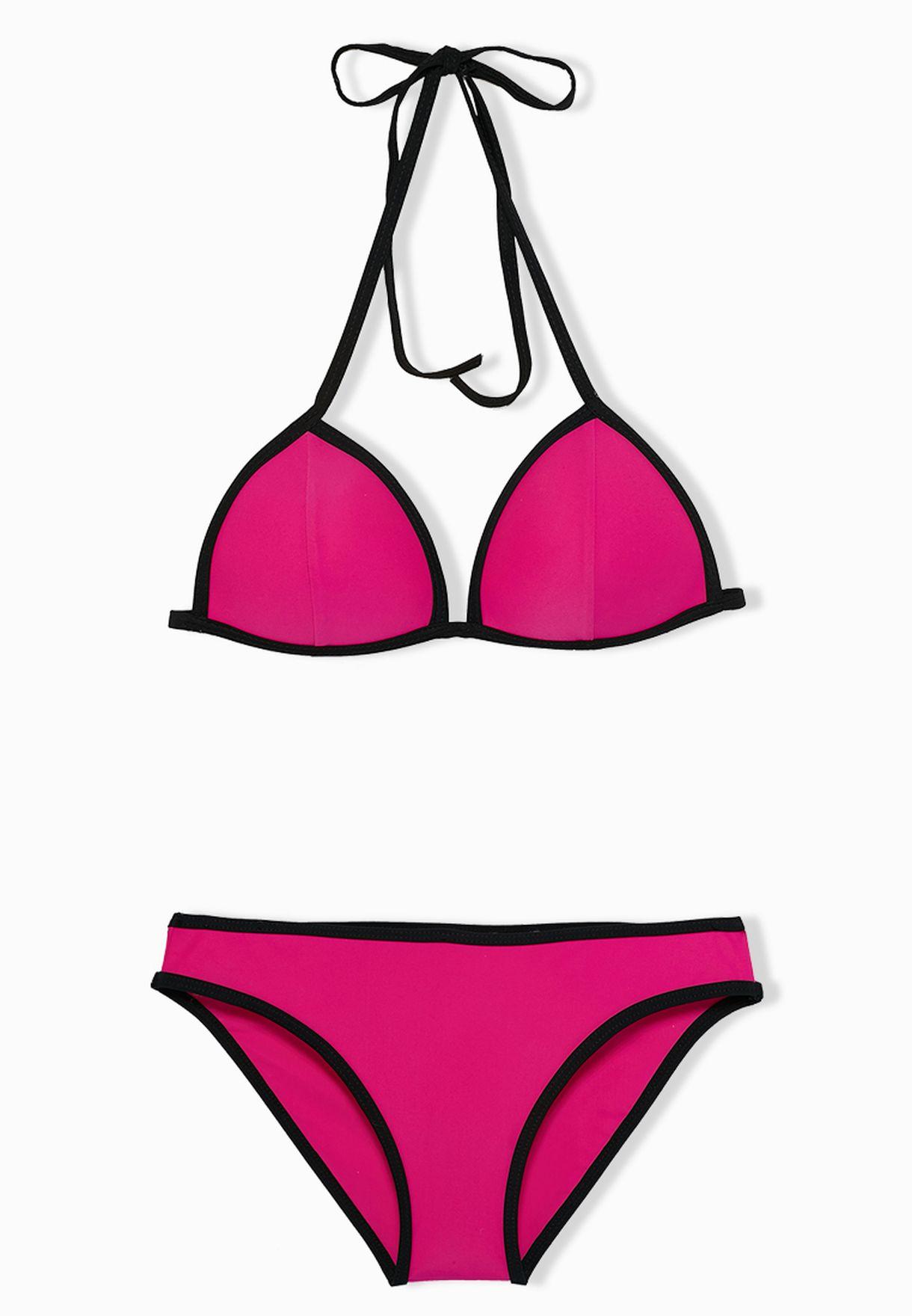 9a898503370dd Shop Velvet fox pink Neon Triangle Bikini Set for Women in Bahrain -  VE430AT36ALV