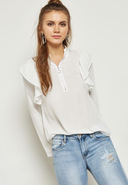 Zip Neck Ruffle Shoulder Top